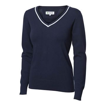 Golf dame pullover solid stretch, navy, Backtee